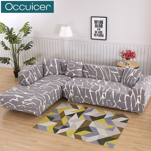 2 Pieces Covers For L Shape Sofa Stretch Corner Couch