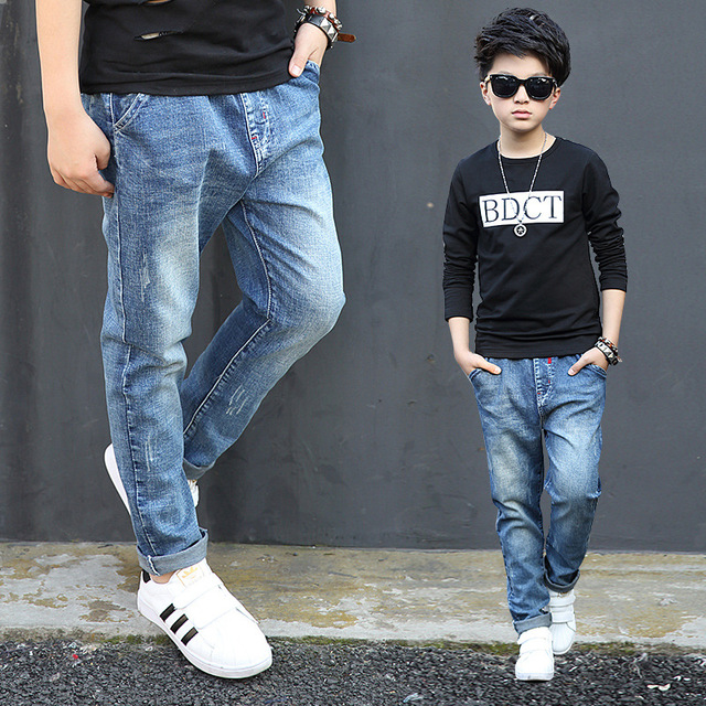 8e733b362 Toddler Jeans Boys Spring Autumn 2018 Fashion Children's Trousers Solid Big  Boys Skinny Jeans Kids Clothes Teenager Denim Pants