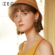 ZEGL tassel earrings retro baroque long clip on