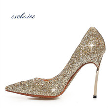 Womens Size 11 Heels Metal Heel Stiletto Glitter Wedding Pumps Large Size Shallow Mouth Blue Rue Black Golden Silver Party Sexy