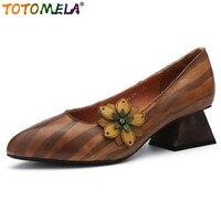 0baea7d03 TOTOMELA Genuine Leather Retro High Heel Shoes Strange Style Heel Ethnic  Ponted Toe Pumps Women Shoes
