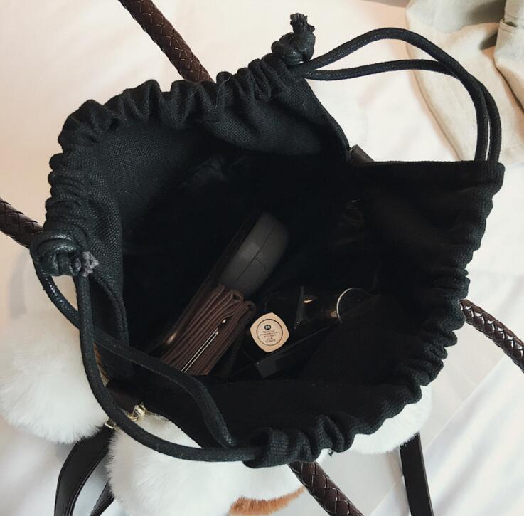 Winter Plush Fur Fashion Handbag Casual Tote Bag Women Crossbody Bag Female Shoulderbag #157 3