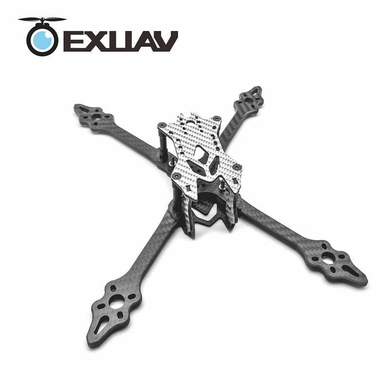 EXUAV VX215R 215mm Wheelbase 5mm Thickness Carbon Fiber Racing Drone Frame Flytower PRO/Racing RC FPV For DIY mini Toy 80g 2017newest transtec 215mm 5mm 3k full carbon fiber frame kit for lightning race blue sliver for rc racing racer drone toy diy