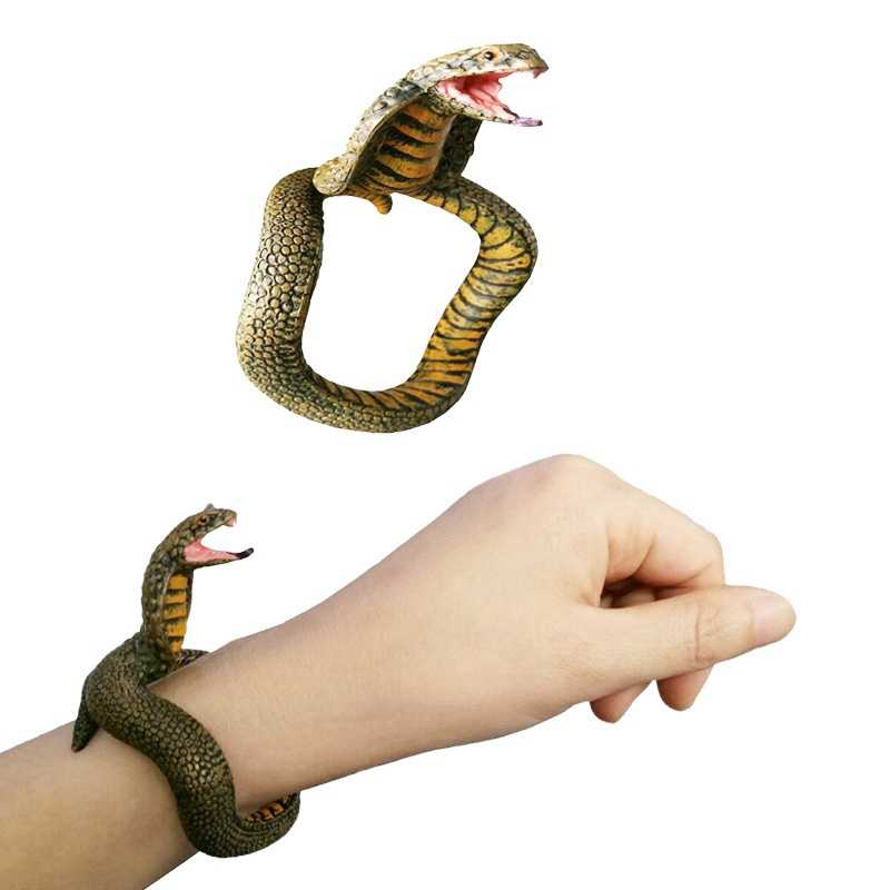 ของเล่นเด็ก Prank แหวนงูตลกของเล่นเด็กสร้อยข้อมืองูจำลอง Cobra Rattlesnake สัตว์ชุดอุปกรณ์เสริมของเล่น