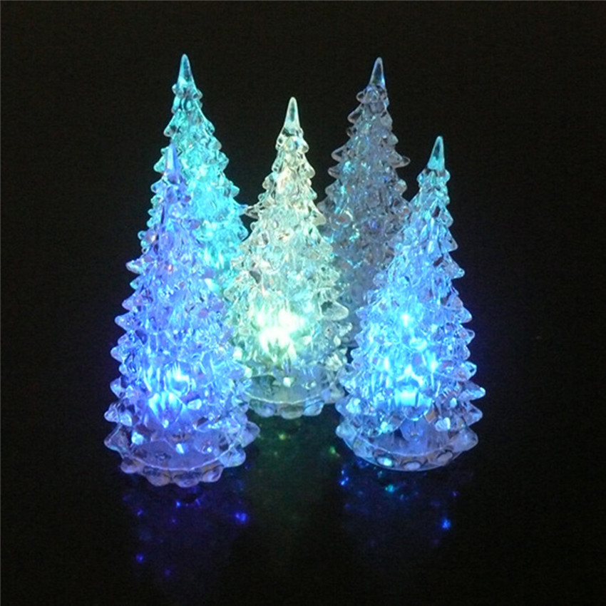 Colorful Dream Crystal Novelty Night Lights Led Small Night Lamp Light Changing Acrylic Christmas Tree Bulbs Indoor Decor Gift