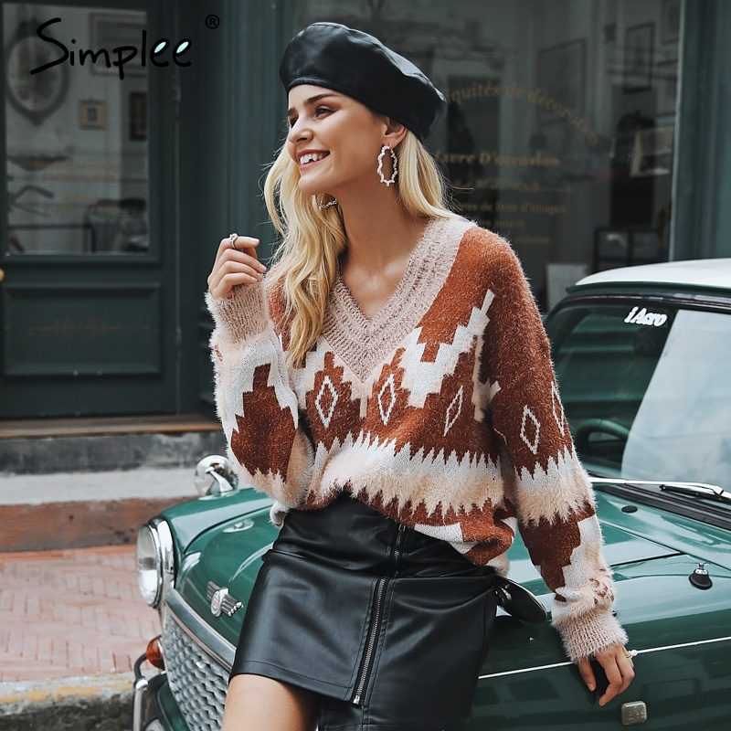 Simplee Vintage v neck geometric women sweater Casual long sleeve fashion pullover female 2018 Autumn winter jumpers