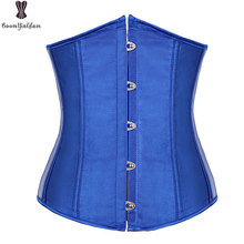 Underbust Corset Top 6XL Plus Size Sexy Women Outwear Simple Elegant Satin Bustier White Black Blue Gothic Waist Corselet 2833