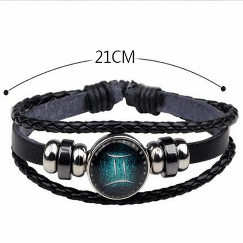 Hot Sales European and American Style Handmade Beaded Braided Antique Leather DIY 12 Constellation Bracelets & Bangles A3003