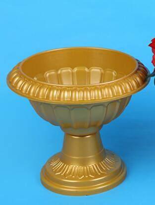 Online Shop Wholesale Gold Plastic Trumpet Vase Round Base Pvc Roman