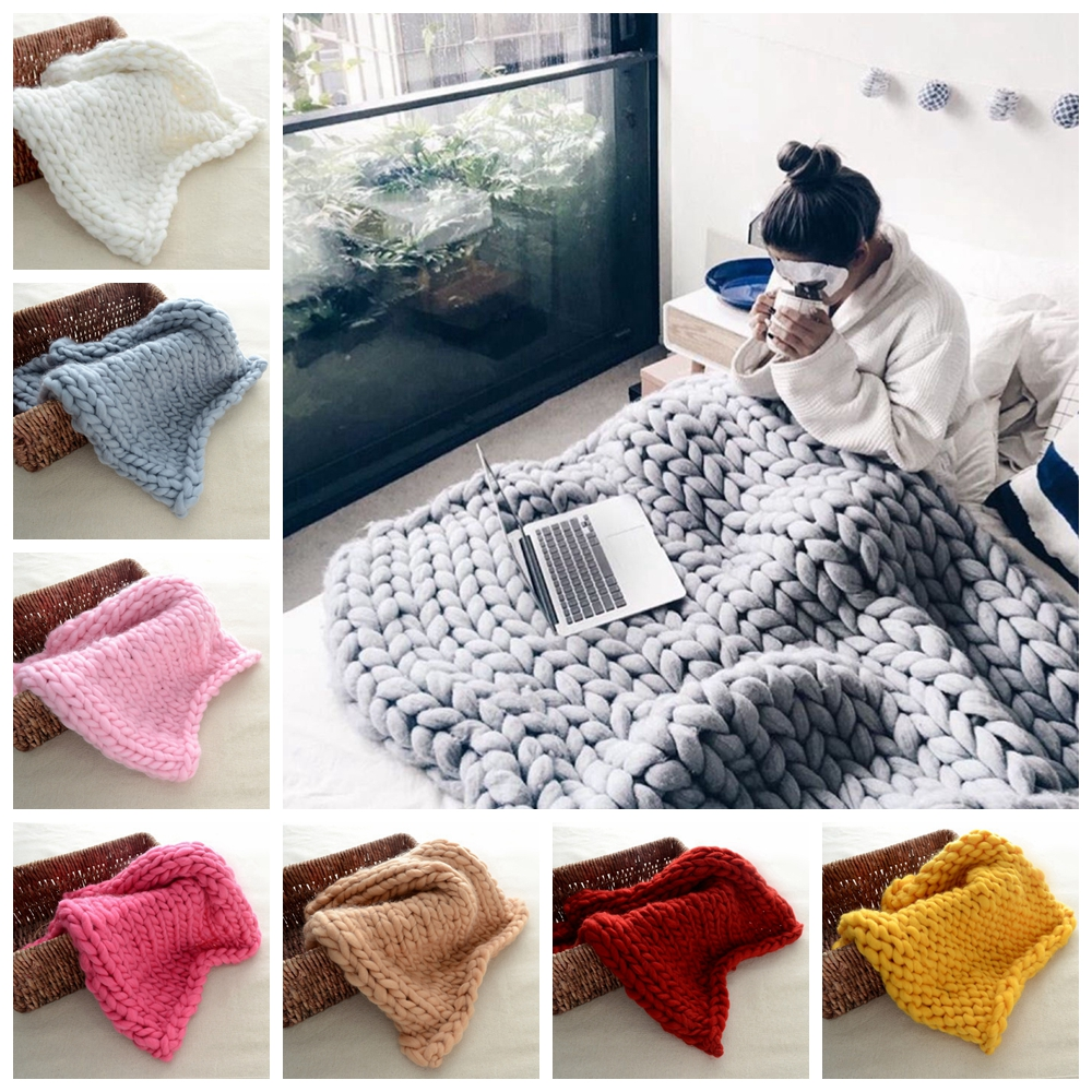 UPRADE Handmade Chunky Knitted Blanket Wool Thick Line Yarn Throw Sofa Bed 60x60/80x100/100x120/120x150cm YYY9483