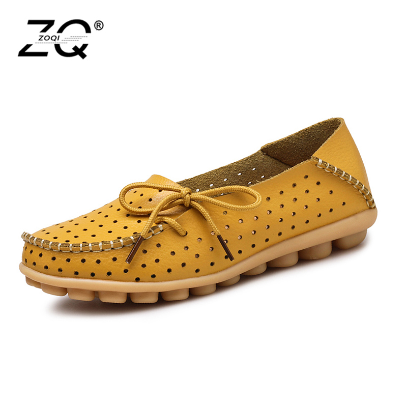 ZOQI 2018 New Summer Women's Shoes Genuine Leather Flats Shoes Female Casual Flat Woman Loafers Leather Black Flat Size 35-44 zoqi shoes woman candy colors genuine leather women casual shoes 2018fashion breathable slip on peas massage flat shoes size 44