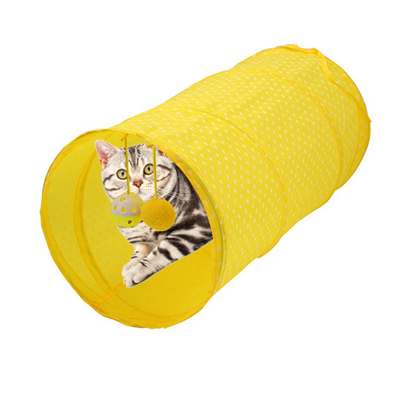 Polyester Foldable Hanging Ball Pet Cat Tunnel Play Tunnel Tubes Collapsible Crinkle Kitten Cat Toys Puppy Ferrets Rabbit Play