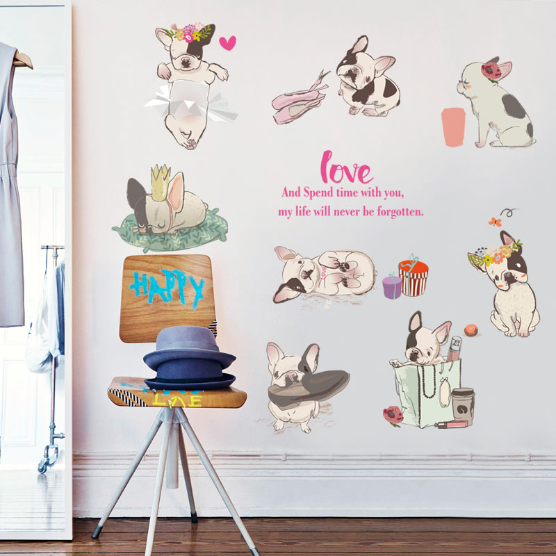 Diy Dog Wall Decor : Fundecor diy dogs wall stickers for kids rooms baby