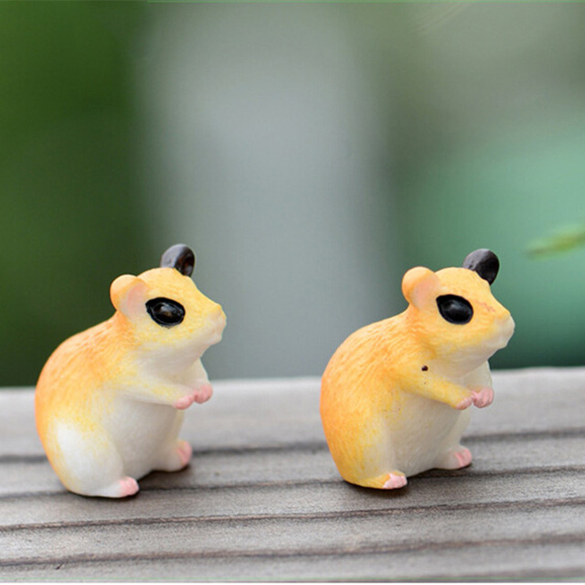 2pc Hamster Figurine Miniature Decoration for mini fairy garden animal statue Similation resin craft Home Car Decoration 6