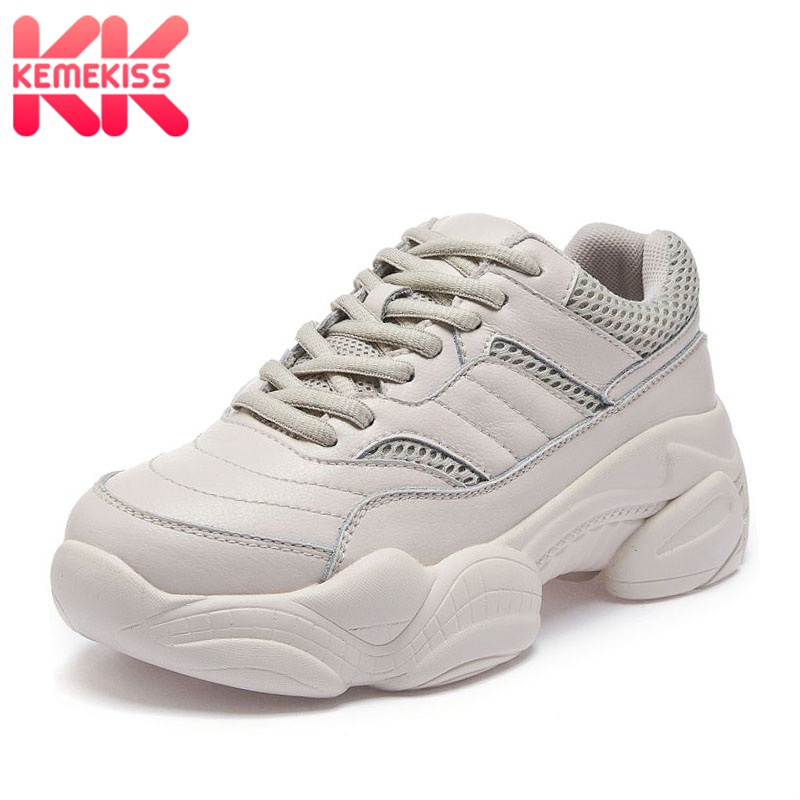 KemeKiss Casual Women Flats Sneakers Real Leather Outdoor Jogging White Shoes Women Lace Up Air Mesh