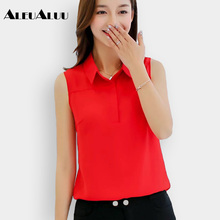 ALEUALUU Brand Summer Top Fashion Women's Clothes Sleeveless Chiffon Blouse Slim Casual Solid Shirt Women AEU204