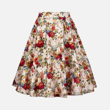 ARiby 2019 New Summer Fashion Women Half Skirt Cotton Vintage Elegant Multicolor Printed Half-length Casual A-Line Empire