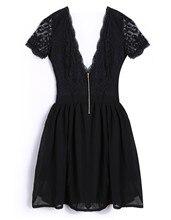Neue Mode Frauen Kurzarm V-ausschnitt Backless Sexy Chiffon Spitze Short Mini Kleid Cocktail dinner-Party Kleid