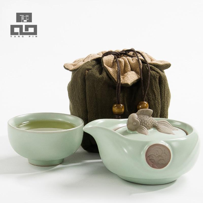 Te te coffi TANGPIN yn gosod tebot ceramig tegell pwdin te teacup teithio cludadwy wedi'i osod set de Kung Fu Tsieineaidd