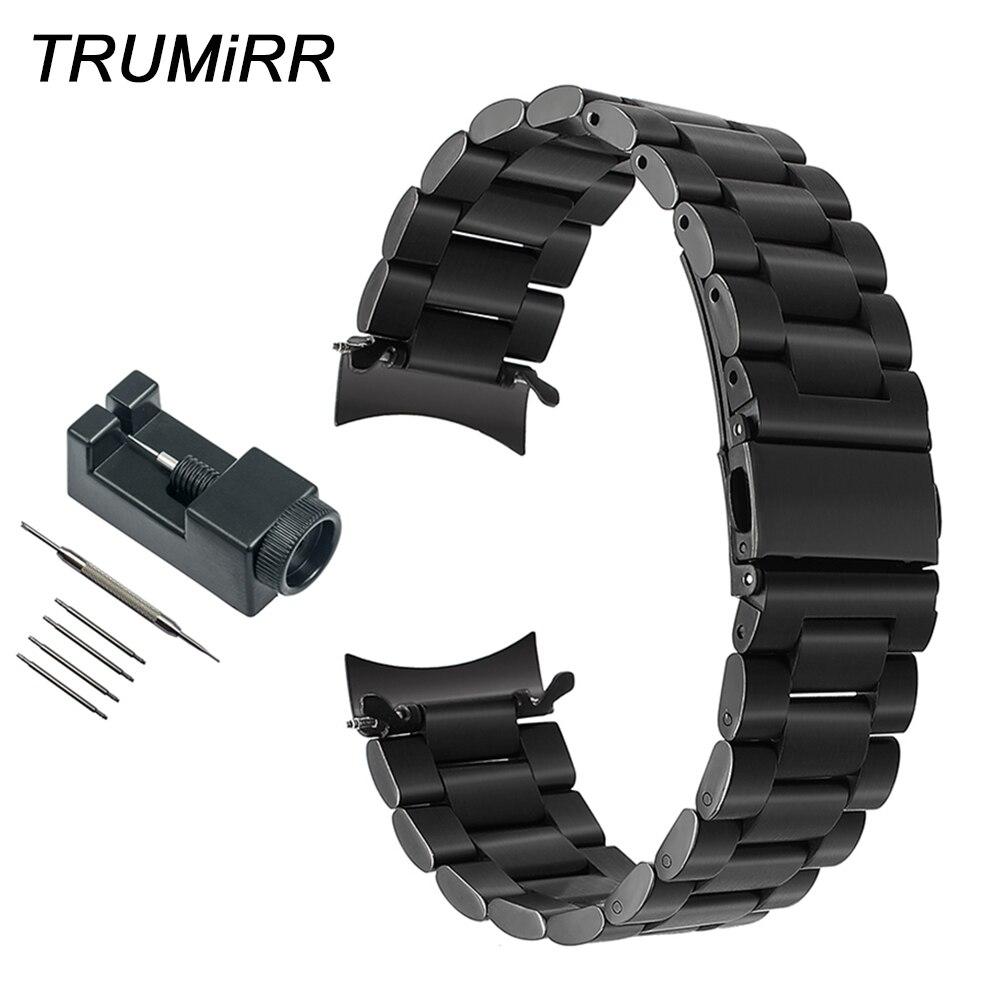 22mm curvada Fin de reloj de acero inoxidable + herramienta para Samsung Gear S3 clásico frontera deportes banda de reloj de correa para la muñeca pulsera de enlace