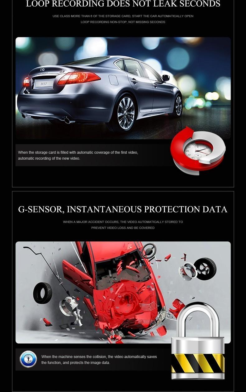 QUIDUX Dual lens G30 Car DVR Camera HD 1080P Video Recorder DVRs Night Vision Auto Dash cam Veicular Kamera two cameras Logger 14