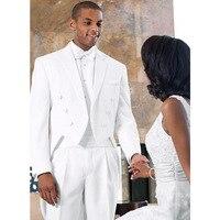 White Italian Mens Tailcoat Wedding Suits for Men Groomsmen Suits 3 pieces Set (Jacket+Pants+Vest) Groom Wedding Suits Men Suits
