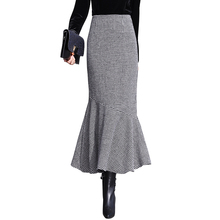745a6c9c58 Autumn Winter Long Plaid Skirts Women Vintage Black White Thick Midi Woolen  Mermaid