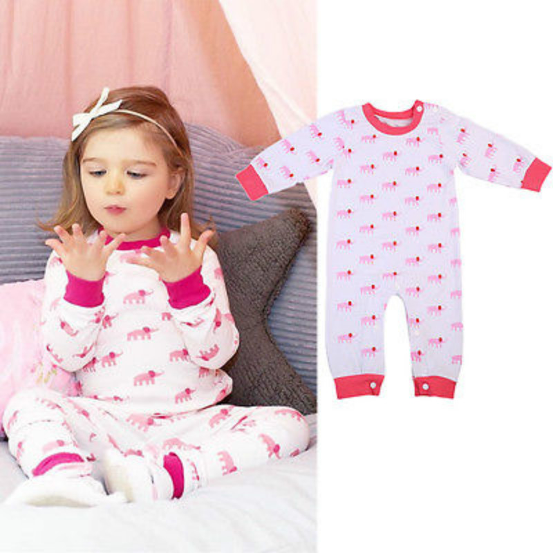 Autumn Spring Baby Kids Romper Newborn Baby Girls Sleepwear Pajamas Pyjamas Long Sleeve Clothes Romper Jumpsuit Outfit 0-24M