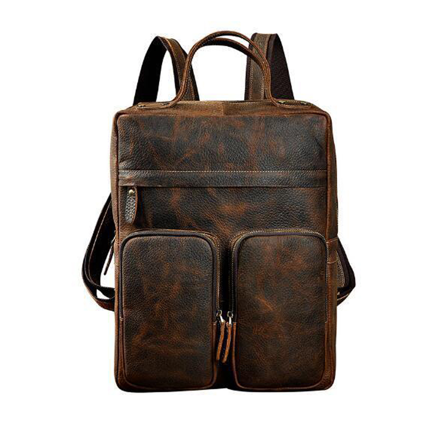 2019 Mens vintage crazy horse rucksack Brand 15 retro Brown genuine Cow leather  thick cowhide school Laptop Packs backpack2019 Mens vintage crazy horse rucksack Brand 15 retro Brown genuine Cow leather  thick cowhide school Laptop Packs backpack