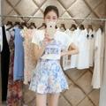 Европа Женщин 2015 лето новое письмо принт Футболка цвет юбка костюм реального