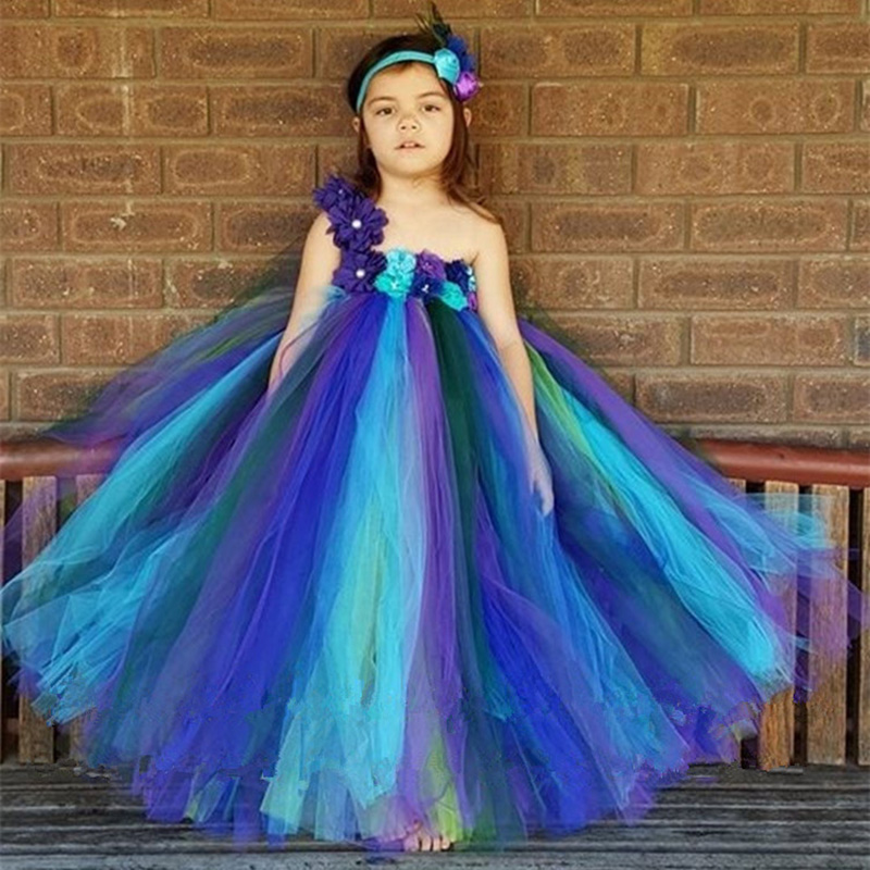 Baby Girl Clothes Peacock Tutu Dress for Girls Kids Festival Holiday Birthday Party Pageant Ball Gown Flower Girl Dress Vestido girl peacock carnival dress flower girl