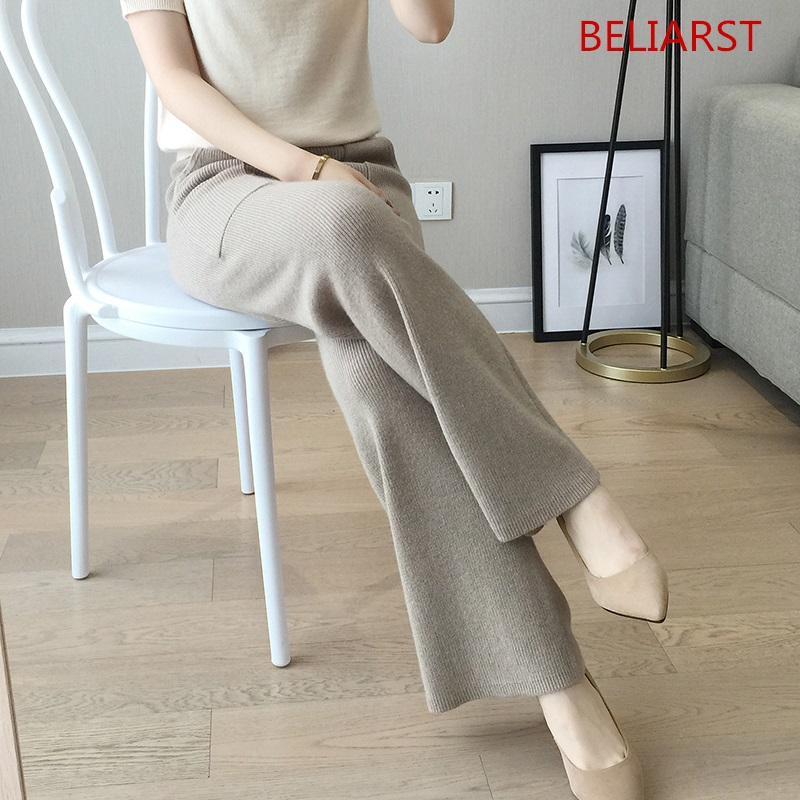 18 Spring and Autumn New Women's Wool Knitted   Wide     Leg     Pants   Fashion Sexy Solid Color High Waist Thin Cashmere Straight Trousers