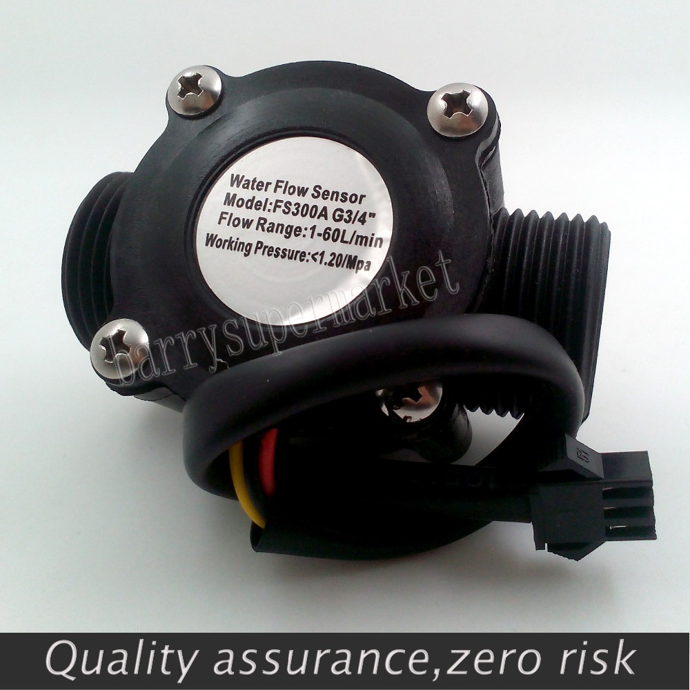 2PCS Water Flow Meter Hall Flow Sensor Flowmeter Pool Float Switch Indicator Counter For Water Heater Fuel Gauge 1-60L/min G3/4