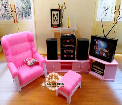 House For Barbie Dollhouse Accessories Furniture Set Living Room Barbie TV Audio Sofa Accessories Play Toys Gifts