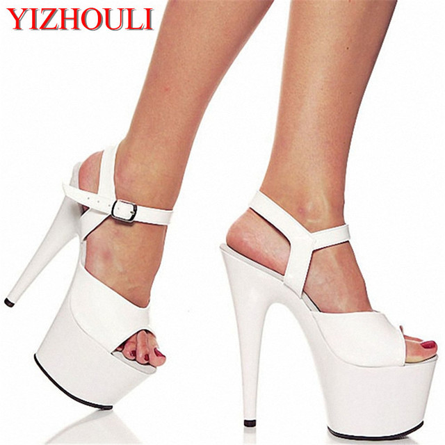 4143b1be17f Shoes 7 Inch Pointed Stiletto High Heels Open Toe Womens Shoes 17cm High- Heeled Sandals Platform Dance Shoes