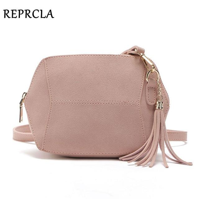Reprcla мода матовый pu кожа сумки на ремне конфеты цвет оболочки женщины сумка почтальона сумочки crossbody кисточкой женская сумка сумки