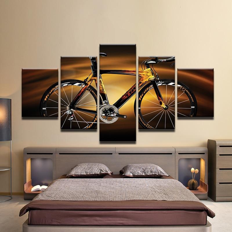 Bicycle Home Decor: Modular HD Printed Modern Sport Home Decor Wall Art Oil