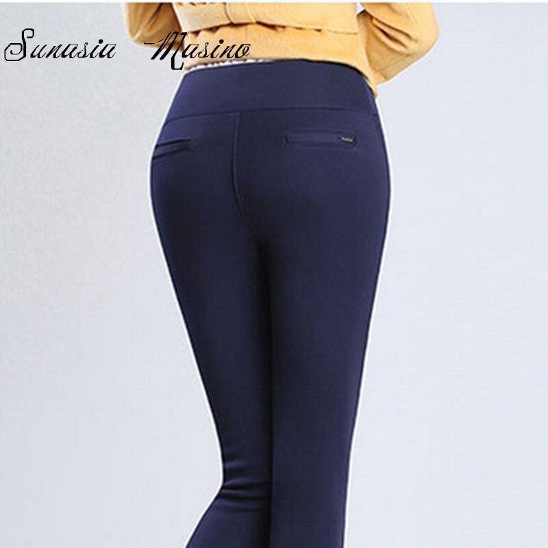 Zimní styl Post kovový plech 2019 výška pasu udržujte teplé Kalhoty s-4xl plus dámské tužkové kalhoty