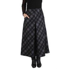 Winter Wool Plaid Maxi skirt,vintage Fashion Casual pleated,faldas Largas Women Lady Autumn Girls skirts,new Style Wool TT1425