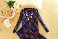 2017 Autumn Winter Women Popular Knee Length Split Tail SKirt Suits Kangaroo Print Knitted Wool Sweater