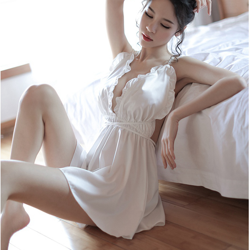 Nightgowns & Sleepshirts Women's Sleepwears Women Sexy Lace See Though Lingerie Porno Lingerie Sleep Wear Chemise Night Dress Gowns Ropa Sexy Para El Sexo Nightgown V Neck
