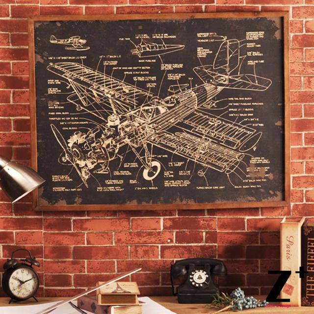Modern decorative picture airplane blueprint black board wall art modern decorative picture airplane blueprint black board wall art deco coffee bar malvernweather Gallery