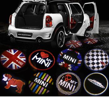 Samochód drzwiowe światło wejściowe LED nastrój projektor Auto Logo dla Mini Cooper One S JCW R55 R56 R60 F55 F56 F60 Countryman akcesoria samochodowe tanie i dobre opinie Karlor Witamy Światło