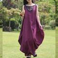 [AIGYPTOS-BZSG]Spring Summer High Quality Women Vintage Sleeveless Casual Loose Plus Size Cotton Linen Irregular Maxi Tank Dress