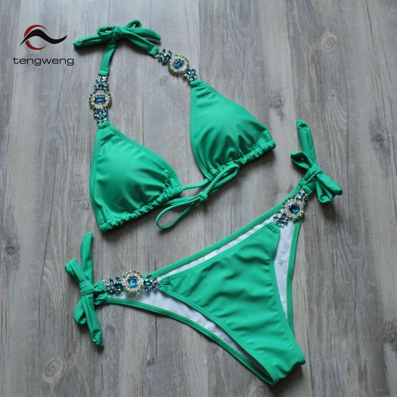 Tengweng 2018 New Crystal Swimsuit Bikini Rhinestone Swimwear Women Sexy Swimsuit Big size 2 piece Female Brazilian Bathing suit 4