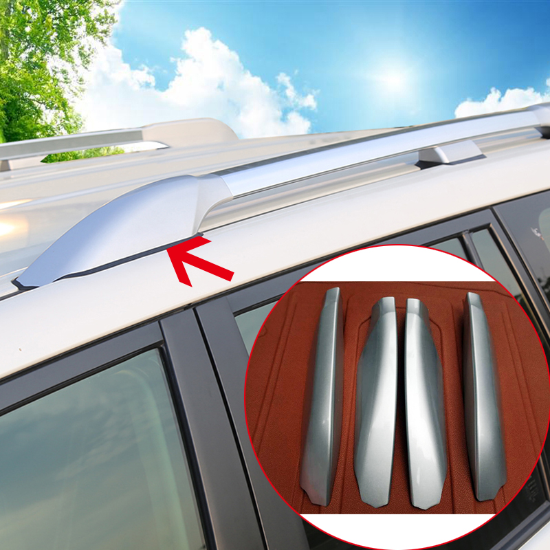 Black/Silver ABS Roof Rack Side Rails Luggage Carriers Bar Cover Trim 4 PCS For Toyota Land Cruiser Prado J120 03-09/ J150 10-18