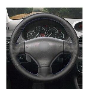 Image 3 - مخيط يدويا أسود بولي Leather الجلود والجلود الاصطناعية عجلة القيادة يغطي التفاف لبيجو 206 1998 2005 206 SW 2003 2005 206 CC