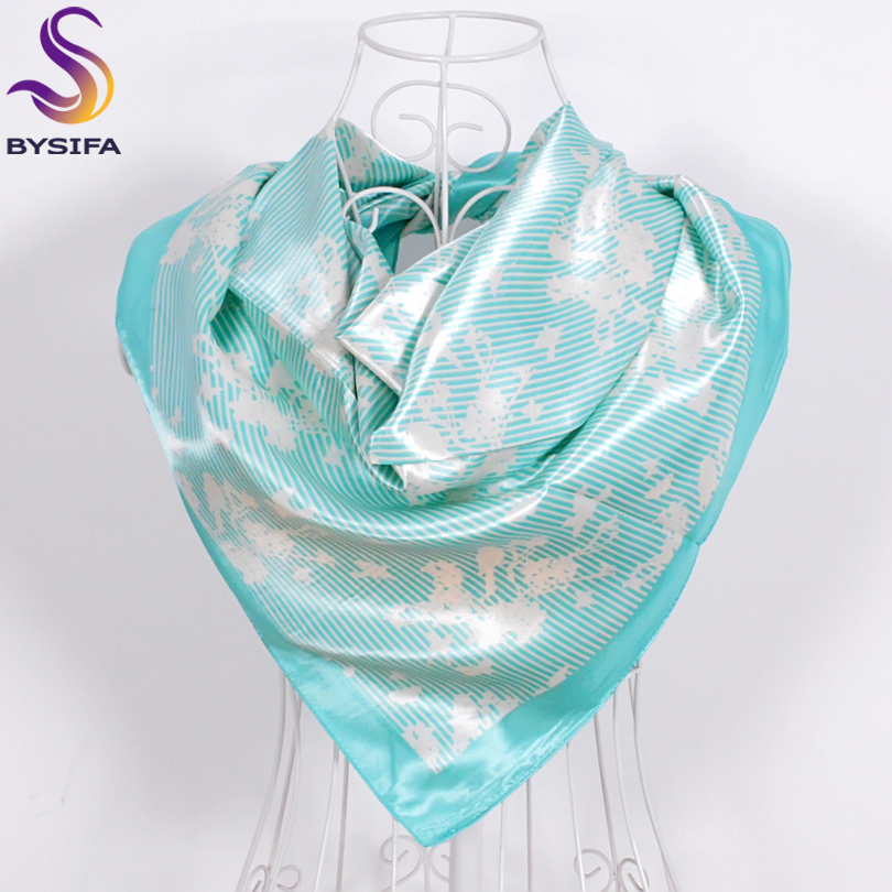 Ladies Cyan-Blue Silk Scarf Shawl Printed 2016 New Design Multifunctional Women Square Scarves Wraps 90x90cm Fashion Scarf Hijab
