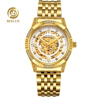 BINLUN 18K Gold Skeleton Watch Luxury Men's Automatic Watch Sapphire Glass Dial Waterproof Diamond Case Mechanical Watch For Men