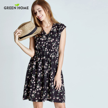 Green Home Floral Maternity Nursing Dress Four Colors Pregnancy Short Dress For Pregnant Women